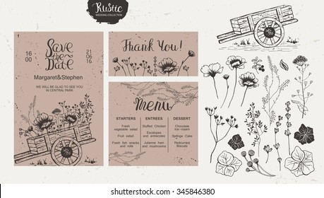 Rustic style wedding collection. Wedding invitation, menu, thank you, isolated collection of wildflowers and plants, wooden cart.