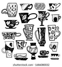 Rustic tea cup set with linocut ornament. Teacup vector illustration isolated. Cups pattern for coffee shop design. Vintage and modern mug for tea or coffee. Hipster cafe decoration. Cozy kitchen ware