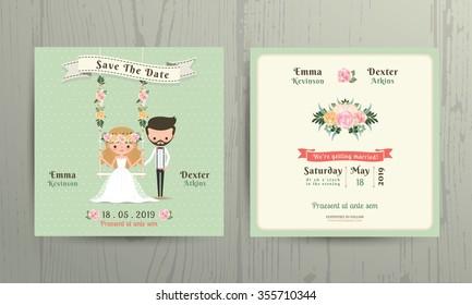 Rustic wedding cartoon bride and groom couple invitation card on wood background