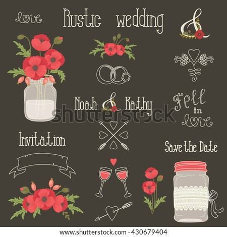 Rustic Wedding Design Elements With Poppy Flowers Vector Set Of Vintage Hand Drawn Clip Art