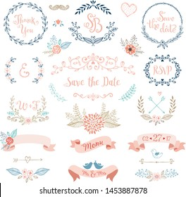 Rustic Wedding Design Set. Wedding card with flower rose, leaves. Wedding ornament concept. Floral poster, invite. Vector decorative greeting card or invitation design background