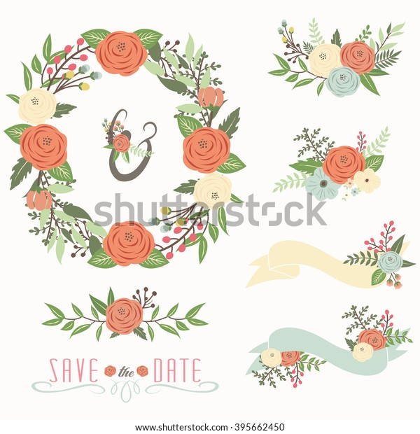 Rustic Wedding Floral Wreath Set Perfect Stock Vector
