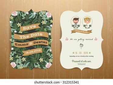 Rustic Wedding invitation card cartoon bride and groom on wood background