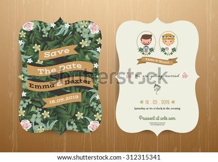 Rustic Wedding Invitation Card Cartoon Bride Stock Vector Royalty