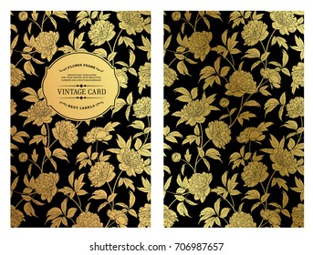 Rustic Wedding Invitation Card Template. Golden peony pattern with text label isolated over black background. Vector illustration.