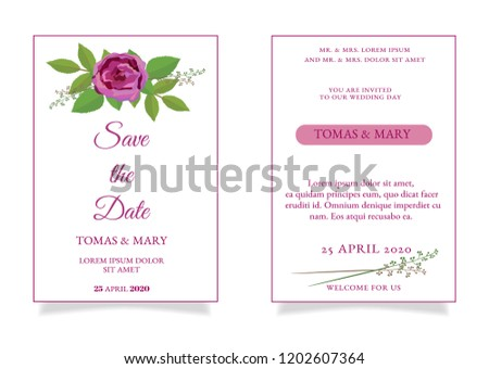 Rustic Wedding Invitation Template Rose Leaf Stock Vector Royalty