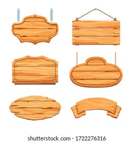 Rustic wooden boards set. Hanging blank saloon signboards and banners with ropes and chains. Vector illustration for bar, restaurant, guidepost, vintage concept