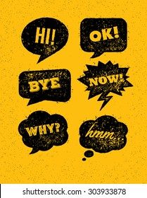 Rusty Grunge Bright Speech Bubbles. Vector Creative Design Elements On Distressed Background