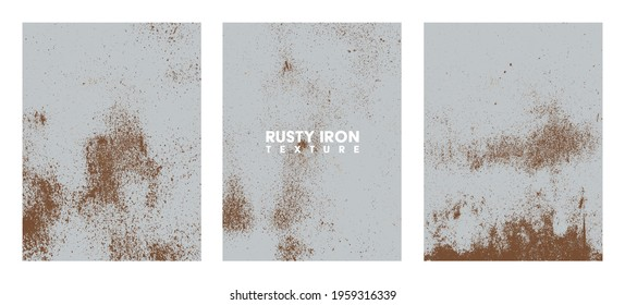 Rusty iron texture set. Rust and dirt overlay black and white texture.