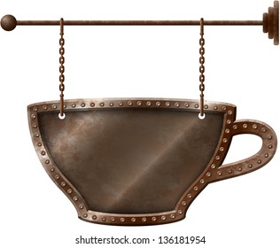 Rusty metal coffee cup signboard on chains