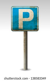 Rusty, old parking sign eps10