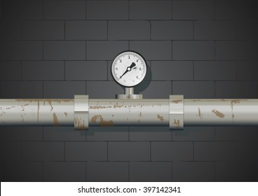 Rusty pipe with manometer on wall background. Vector illustration
