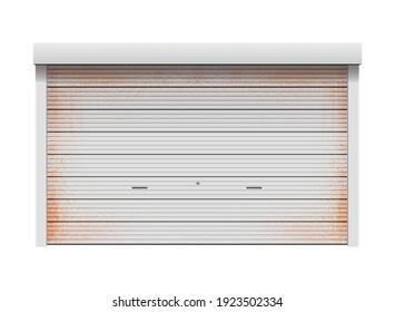 Rusty roller shutter door vector illustration