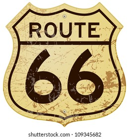Rusty Route 66 - Vintage roadsign illustration full of rust and scratches