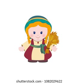 Ruth with Sheaf of wheat on white background. Cartoon character.