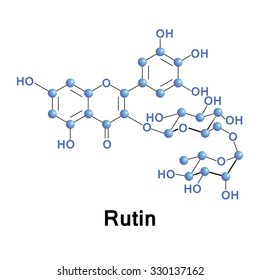 Rutin, rutoside, quercetin-3-O-rutinoside or sophorin, is the glycoside between the flavonol quercetin and the disaccharide rutinose in the fava d'anta tree,. Vector conventional skeletal formula.