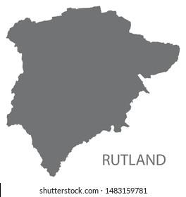 Rutland grey district map of East Midlands England UK