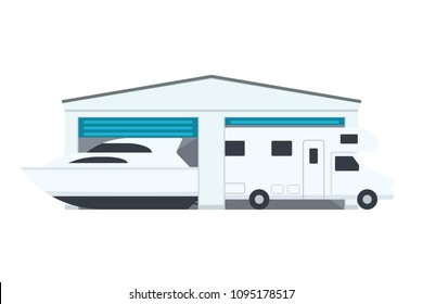 Rv and Boat Storage icon. Clipart image isolated on white background