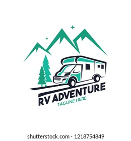 RV camper adventure logo concept camping forest
