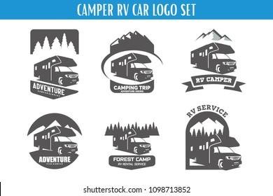 RV Camper Adventure Logo Designs Template Set