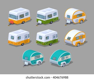 RV campers collection. 3D lowpoly isometric vector illustration. The set of objects isolated against the grey background and shown from two sides