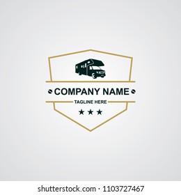 RV Car Emblem Logo Design Template