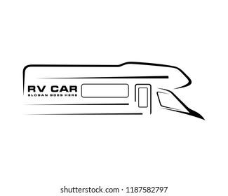 RV car silhouette abstract logo template vector