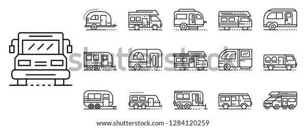 Rv cars logo icons set. Outline set of rv cars logo vector icons for web design isolated on white background