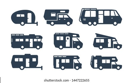 RV Cars, Recreational Vehicles, Camper Vans Silhouettes