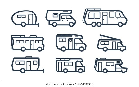 RV Cars, Recreational Vehicles, Camper Vans Icons in Outline Style