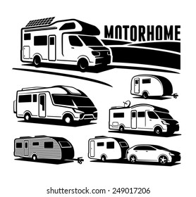 Rv cars Recreational Vehicles Camper Vans Caravans Vector Icons