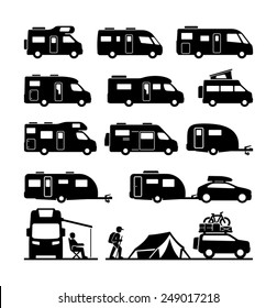 Rv cars Recreational Vehicles Camper Vans Caravans Icons