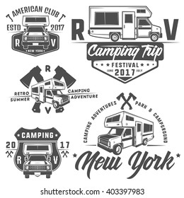 RV cars Recreational Vehicles Camper Vans Caravans emblems,logo,sign,design elements