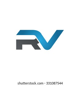 RV company linked letter logo blue