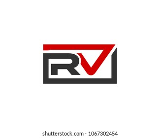 RV initial box letter logo template vector