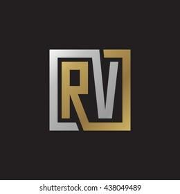 RV initial letters looping linked square elegant logo golden silver black background