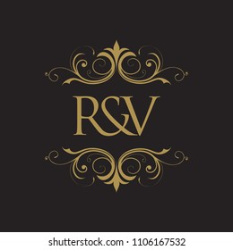 RV Initial logo. Ornament ampersand monogram golden logo black background