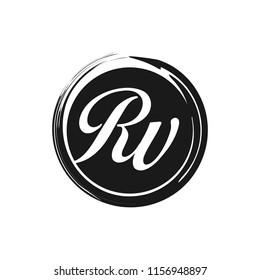 RV initial splash logo template vector