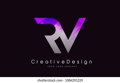 RV Letter Logo Design in Purple Texture Colors. Creative Modern Letters Vector Icon Logo Illustration.