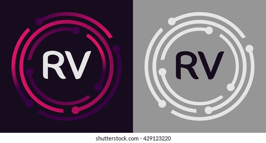 RV letters business logo icon design template elements in abstract background logo, design identity in circle, alphabet letter