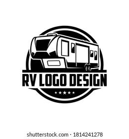RV logo with black white logo style
