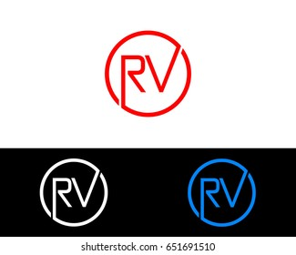 Rv Logo. Letter Design Vector with Red and Black Gold Silver Colors