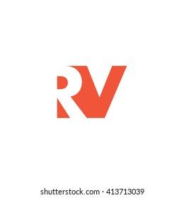 RV Logo. Vector Graphic Branding Letter Element. White Background