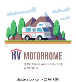 RV Motor home landscape, class C, RV logo. Volume flat vector illustration.