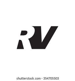 RV negative space letter logo