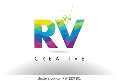 RV R V Colorful Letter Design with Creative Origami Triangles Rainbow Vector.