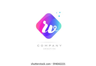 rv r v  pink blue rhombus abstract 3d alphabet company letter text logo hand writting written design vector icon template