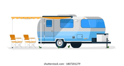 RV trailer. Isolated camper vehicle mobile home with canopy and camping chairs. Vector RV trailer car for travel and vacation transportation