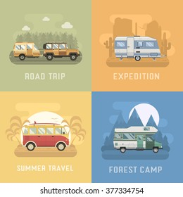 RV travel concept set. Camping trailer family caravan collection. Traveler truck campsite place landscape. Mountains, desert, sea beach and road trip. Tourist bus, SUV, motorhome and trailer campers.