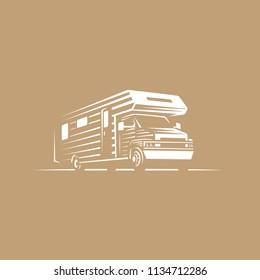 Rv truck house on wheels rving logo illustration design template